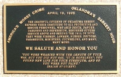 Oklahoma City Bombing Responders' Memorial Marker image. Click for full size.