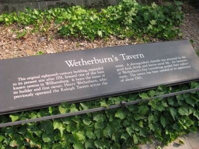 Wetherburn's Tavern Marker image. Click for full size.