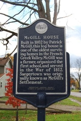 McGill House Marker image. Click for full size.