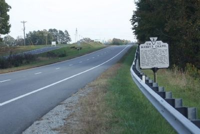 Mabry's Chapel Marker, looking east along US 58 image. Click for full size.