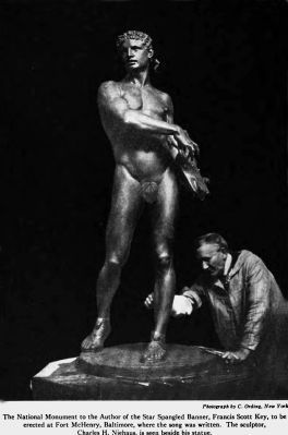 Charles Niehaus and his statue of Orpheus, from Art and Archaeology, Vol. VI, No.1, July 1917 image. Click for full size.