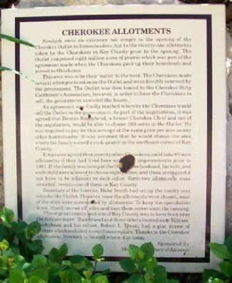 Cherokee Allotments Marker image. Click for full size.