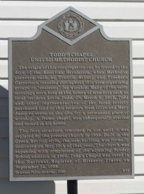Todd's Chapel United Methodist Church Marker image. Click for full size.