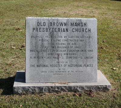Old Brown Marsh Presbyterian Church Marker image. Click for full size.