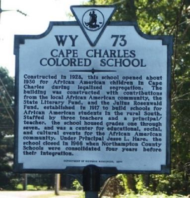 Cape Charles Colored School Marker image. Click for full size.