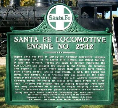 Santa Fe Locomotive Engine No. 2542 Marker (front) image. Click for full size.