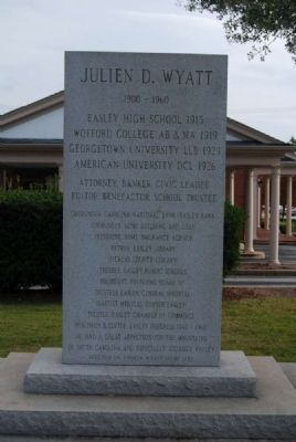 Julien D. Wyatt Monument<br>Front image. Click for full size.