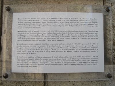 English, German, Spanish and Italian translations of the La Porte Brunet Marker image. Click for full size.