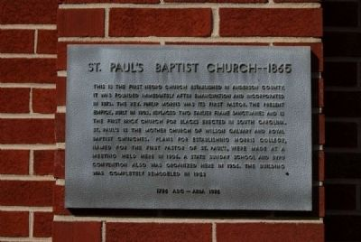 St. Paul's Baptist Church -- 1865 Marker image. Click for full size.