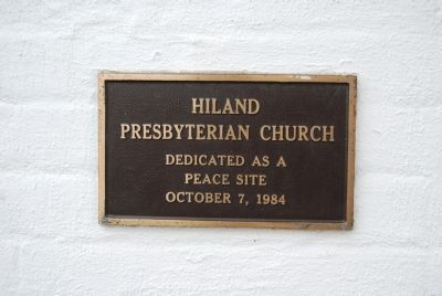 Hiland Presbyterian Church plaque image. Click for full size.