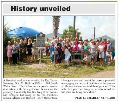 Cedars Marker Dedication in the 10/24/2012 Rockport Pilot image. Click for full size.