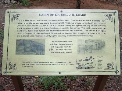 Cabin of Lt. Col. J.B. Leake Marker image. Click for full size.