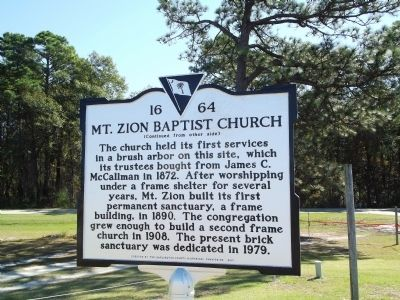 Mt. Zion Baptist Church Marker Reverse image. Click for full size.
