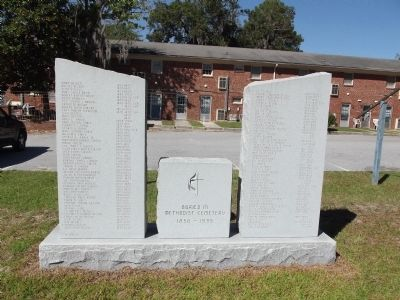 Monument listing known burials in the cemetery image. Click for full size.