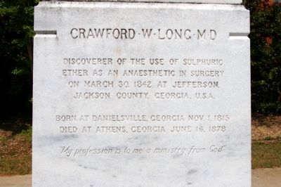 Crawford W Long M D Marker, Front image. Click for full size.