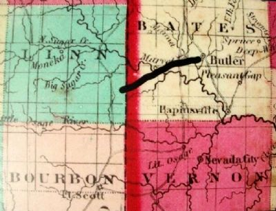 Bates County, Missouri in 1862 Marker image. Click for full size.