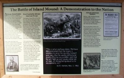 The Battle of Island Mound: A Demonstration to the Nation Marker image. Click for full size.