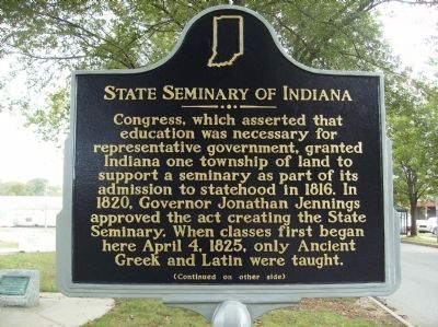 Front of State Seminary of Indiana Marker image. Click for full size.