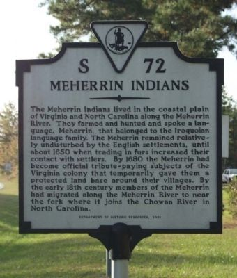 Meherrin Indians Marker image. Click for full size.