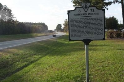 Meherrin Indians Markerlooking westbound Pleasant Shade Drive / Governor Harrison Parkway (U.S. 58) image. Click for full size.