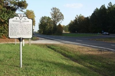Meherrin Indians Marker at Pleasant Shade Drive / Governor Harrison Parkway and 5 Forks Access Road. image. Click for full size.