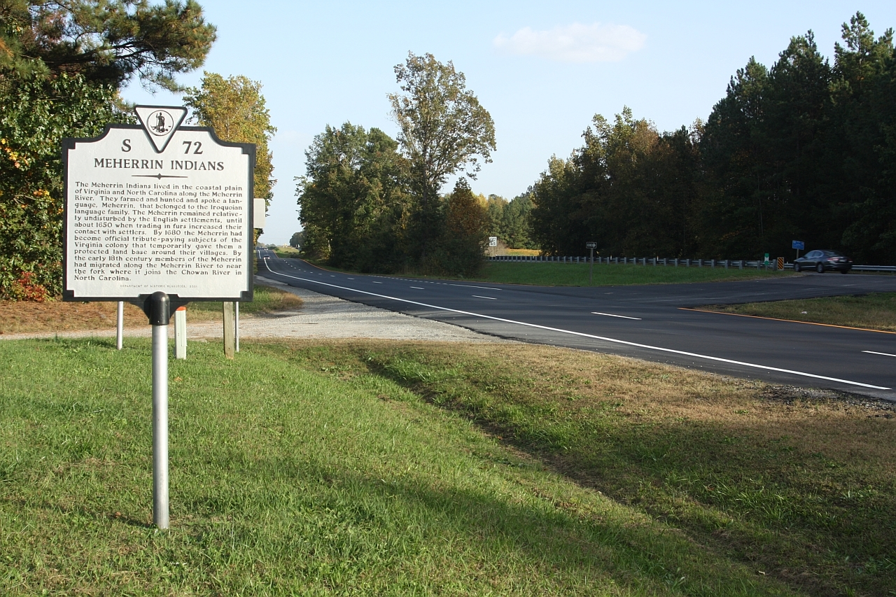 Meherrin Indians Marker at Pleasant Shade Drive / Governor Harrison Parkway and 5 Forks Access Road.