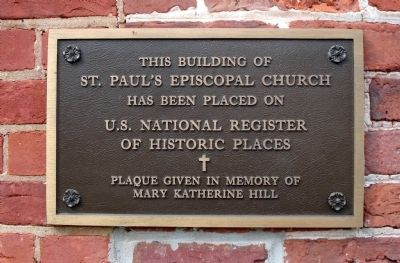 Plaque on the front of church image. Click for full size.
