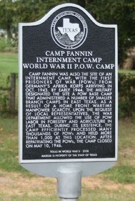 Camp Fannin Internment Camp Marker image. Click for full size.