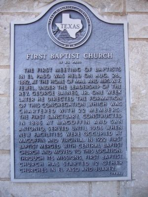 First Baptist Church of El Paso Marker image. Click for full size.