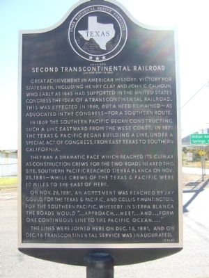 America's Second Transcontinental Railroad Marker image. Click for full size.