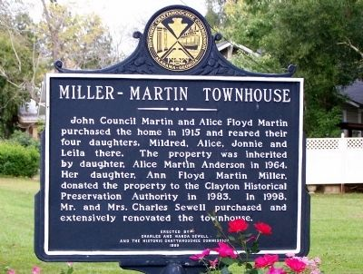 Miller – Martin Townhouse Marker, back image. Click for full size.