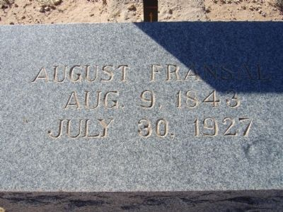 August Fransal Grave Marker image. Click for full size.