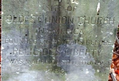 Closeup of Oldest Union Church in America Marker image. Click for full size.