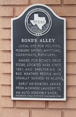 Bond's Alley Marker image. Click for full size.