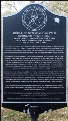 John A. Grimes Memorial Park Marker image. Click for full size.