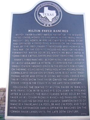 Milton Faver Ranches Marker image. Click for full size.