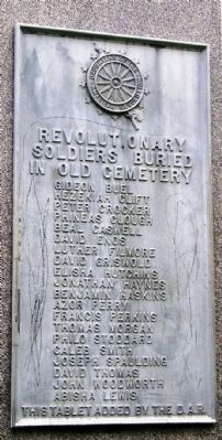 Revolutionary War plaque on back of monument image. Click for full size.