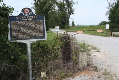 Lucas Tavern Marker, at driveway to the site image. Click for full size.