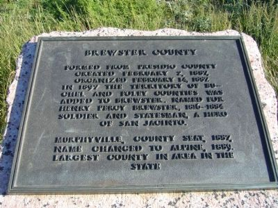 Brewster County Marker image. Click for full size.