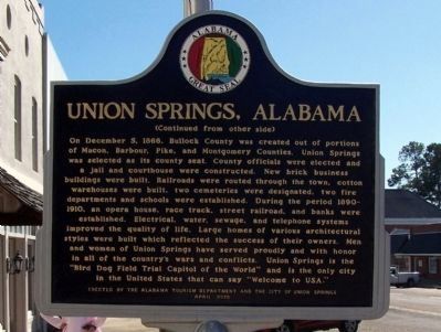 Union Springs, Alabama Marker, back image. Click for full size.