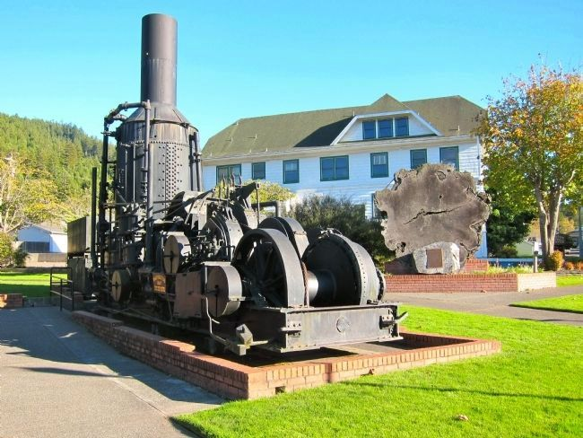 The Pacific Lumber Company Marker - wide view with steam donkey image. Click for full size.