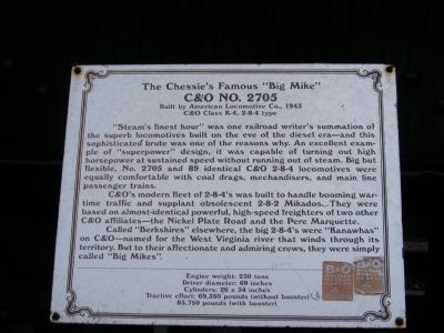 "The Chessie's Famous ""Big Mike"" Marker image. Click for full size."