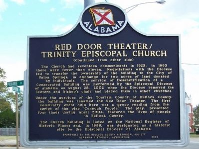 Trinity Episcopal Church/Red Door Theater Marker, back image. Click for full size.
