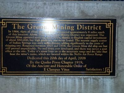 The Groom Mining District Marker image. Click for full size.
