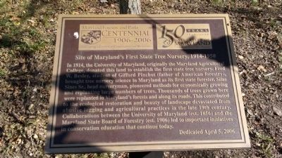 Site of Maryland's First State Tree Nursery, 1914-1950 Marker image. Click for full size.