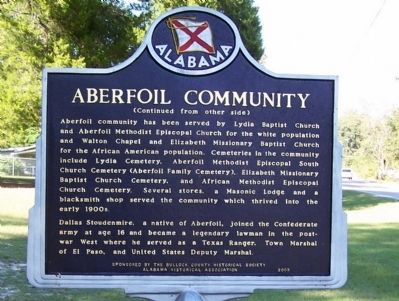 Aberfoil Community Marker, back image. Click for full size.