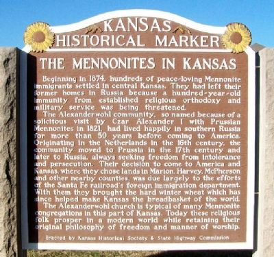 The Mennonites in Kansas Marker image. Click for full size.