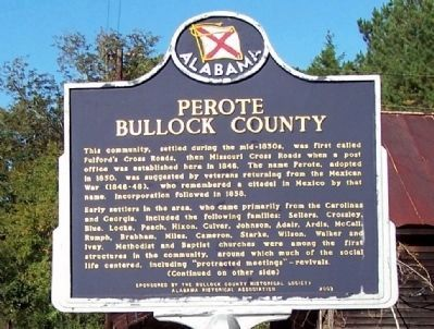 Perote Bullock County Marker, front image. Click for full size.
