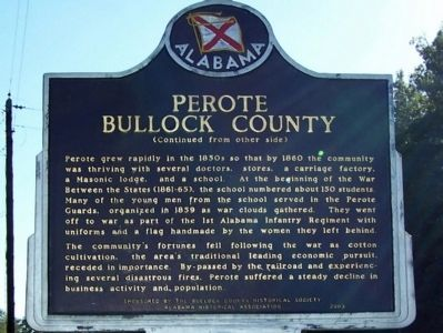 Perote Bullock County Marker, back image. Click for full size.