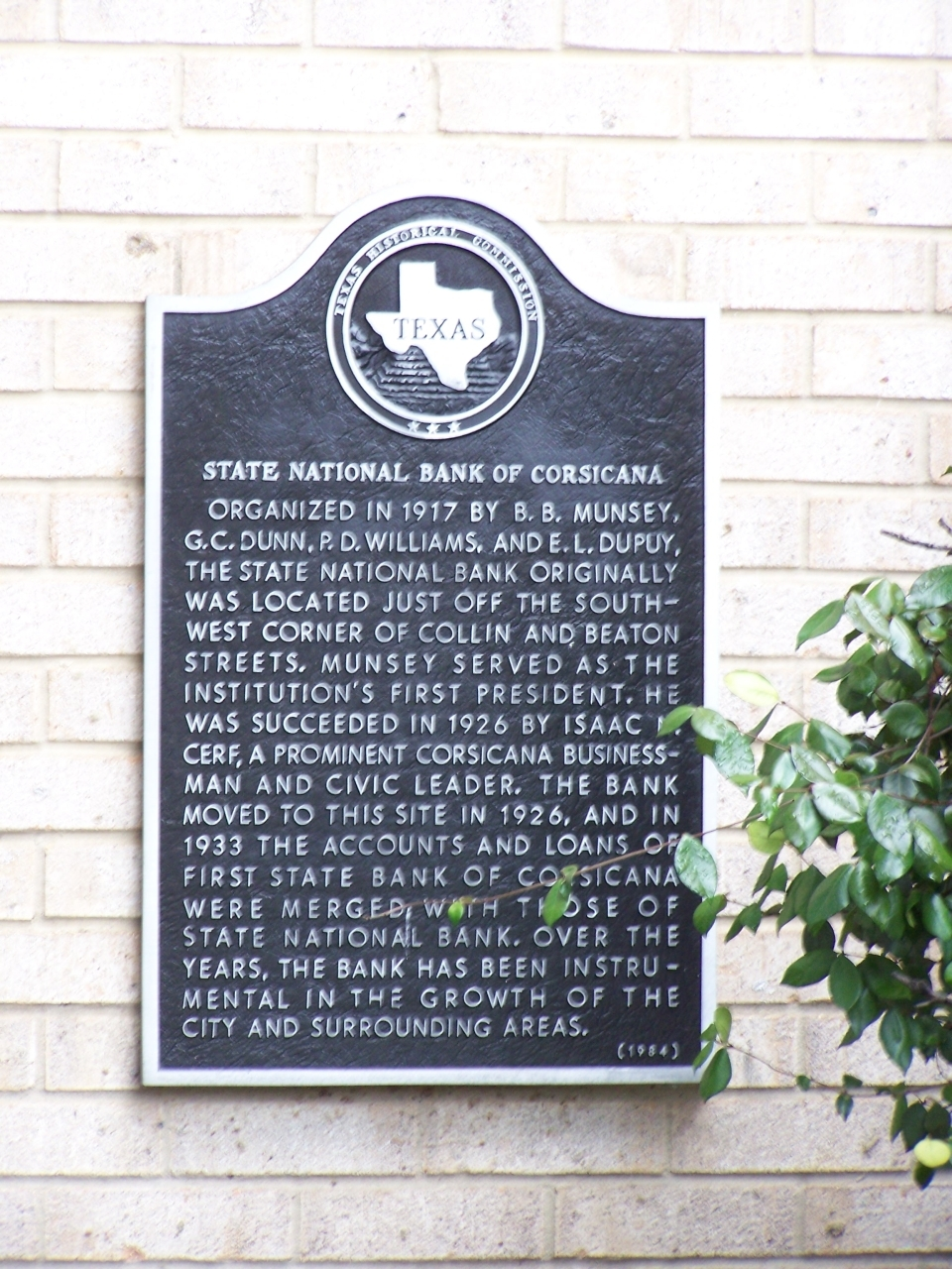 State National Bank of Corsicana Marker